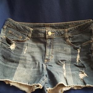 Womens distressed shorts